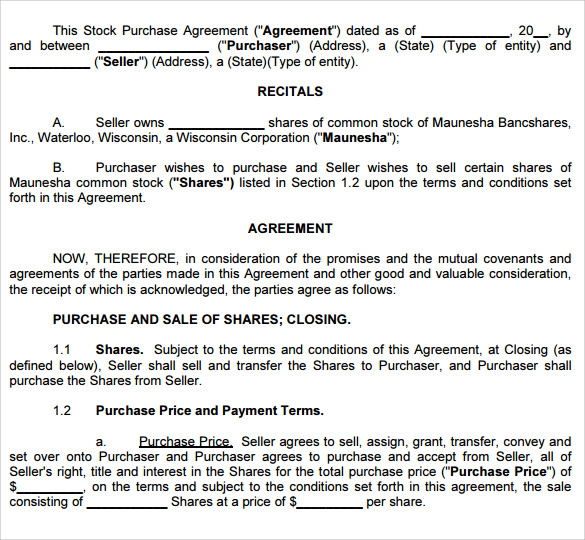 Sample Purchase Agreement Template 10 Free Documents In – Stock Purchase Agreement