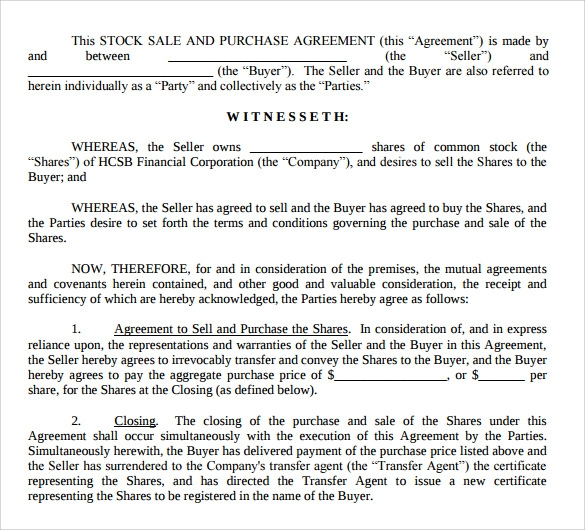 stock purchase agreement format
