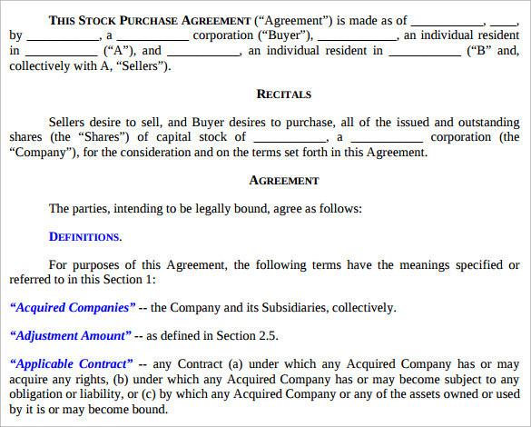 Sample Stock Purchase Agreement Template   Free Documents In Pdf