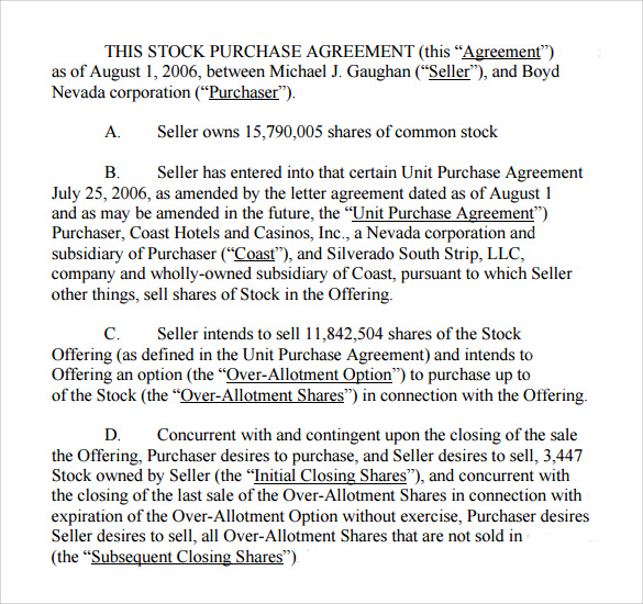 stock purchase agreement pdf