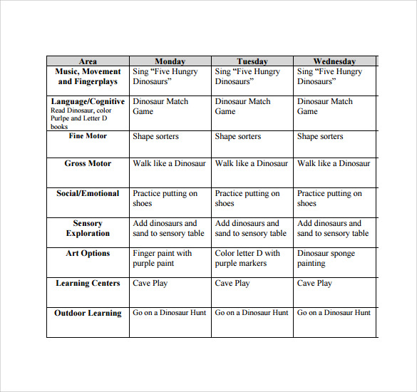 Sample Toddler Lesson Plan - 8+ Example, Format