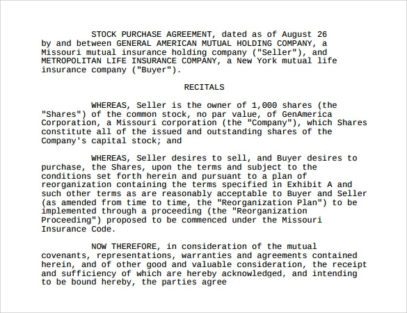 Sample Stock Purchase Agreement Template 10 Free