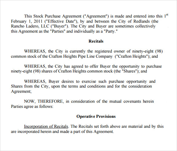 Stock Purchase Agreement Purchase Agreement Template Simple