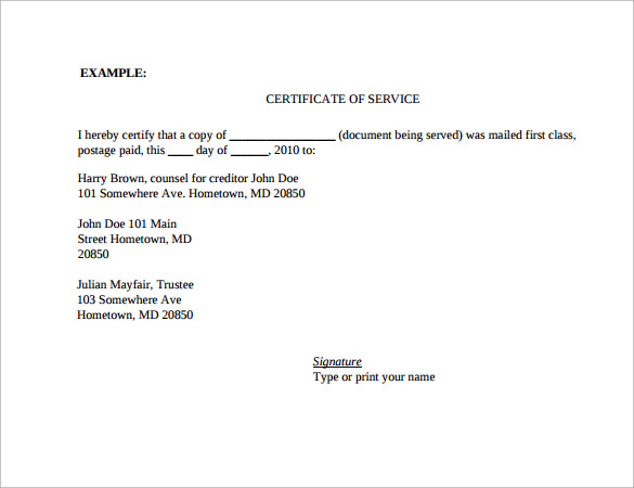 Certificate Of Service Template 11 Download Free