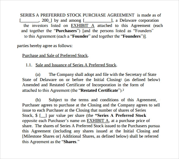 Stock Purchase Agreement Form Gallery  Agreement Letter Format