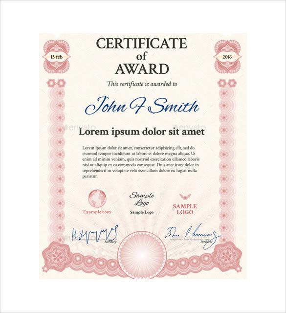 certificate of award1
