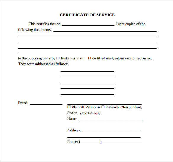 Sample Certificate Of Service Template   Documents In Pdf