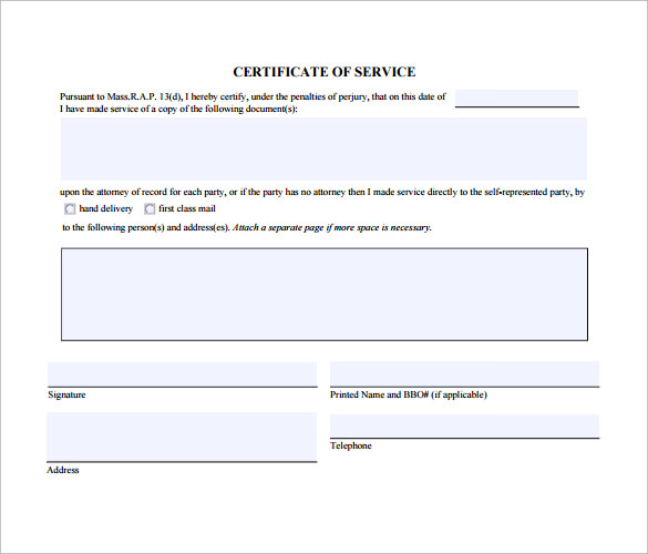 Sample Certificate Of Service Template 16 Documents In