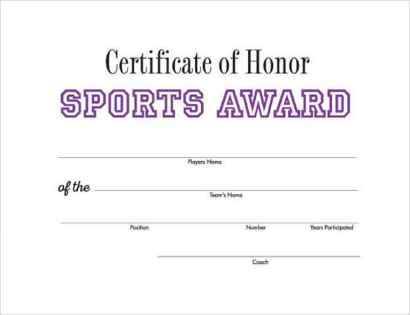 Sports Certificate In Pdf  Resume Template Sample