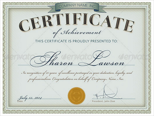 Printable Certificate Template 13 Download Free