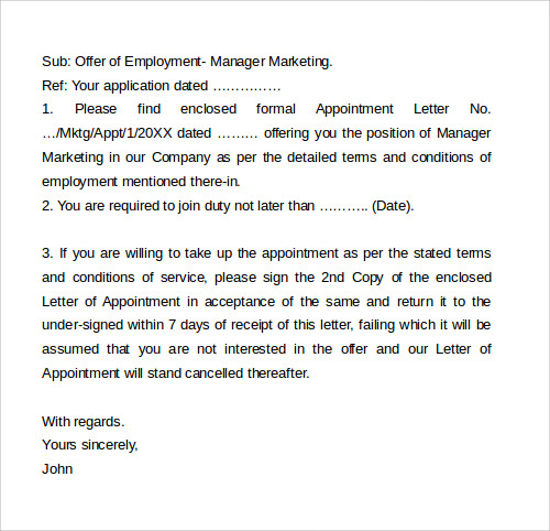 printable cover letter employment