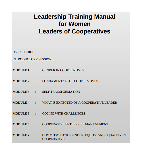 Leadership Training Manual  Manual Format Template