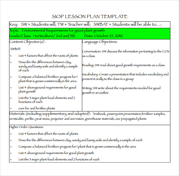 sample siop lesson plan templates  u2013 10  free   examples   format