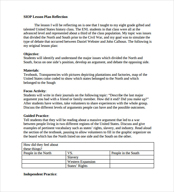 sample siop lesson plan templates  u2013 10  free   examples