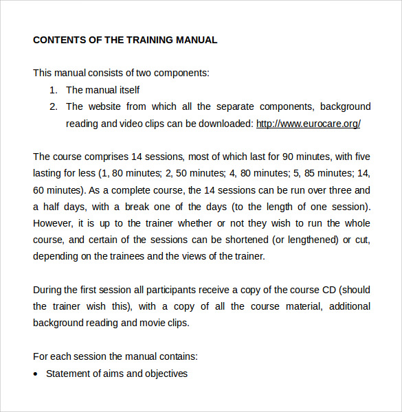 9 sample training manual templates sample templates