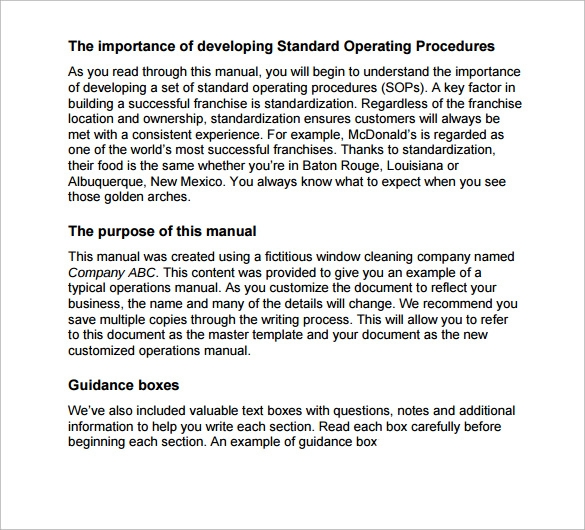 Sample operations manual template 11 free documents in for Small business operations manual template free