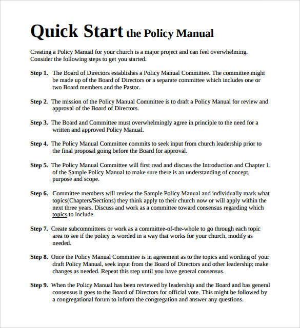 sample policy manual template