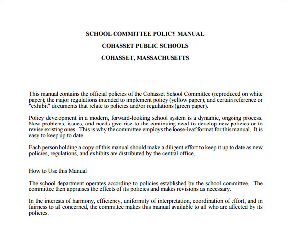 school committee policy manual