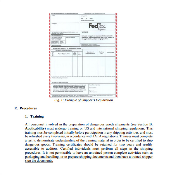 Sample Shipping Manual   Documents In Pdf Word