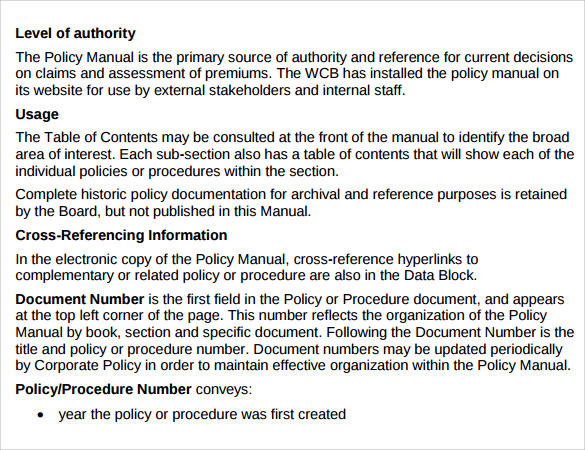 Sample Policy Manual Template Sample Policy Manual Sample Policy