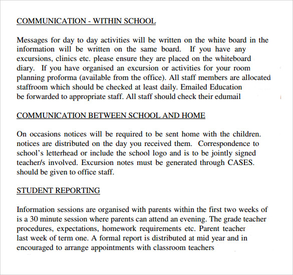 school operation manual template
