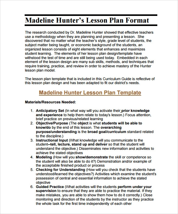Sample Madeline Hunter Lesson Plan   Documents In Pdf Word