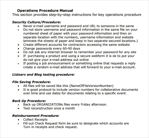 11 operations manual templates to download sample templates for Operational guidelines template