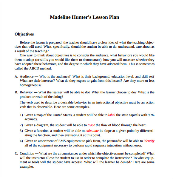 Sample Madeline Hunter Lesson Plan Templates 10 Free
