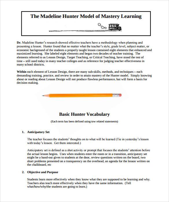 Sample Madeline Hunter Lesson Plan Templates     10  Free Examples ryRBPDRd