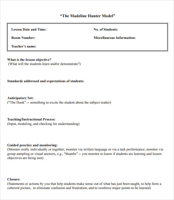 12+ Sample Madeline Hunter Lesson Plans | Sample Templates