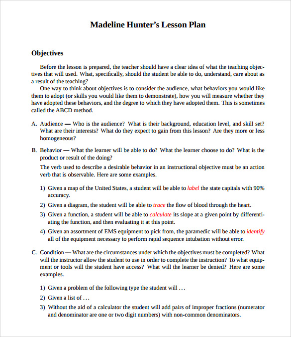 Sample Madeline Hunter Lesson Plan Templates – 10+ Free , Examples ...