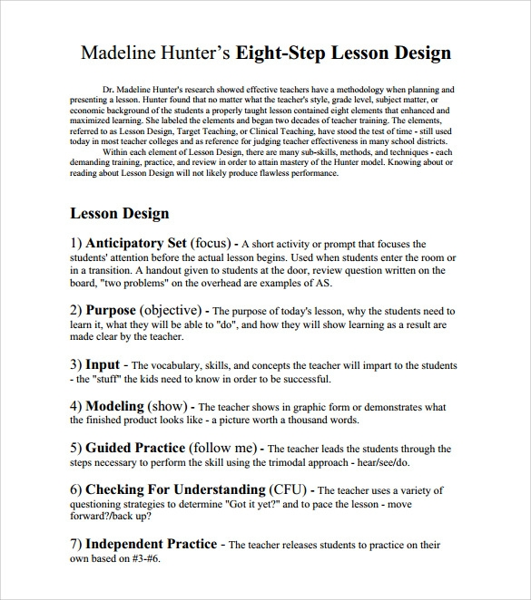 Step Lesson Plans Pasoevolistco - Madeline hunter lesson plan blank template