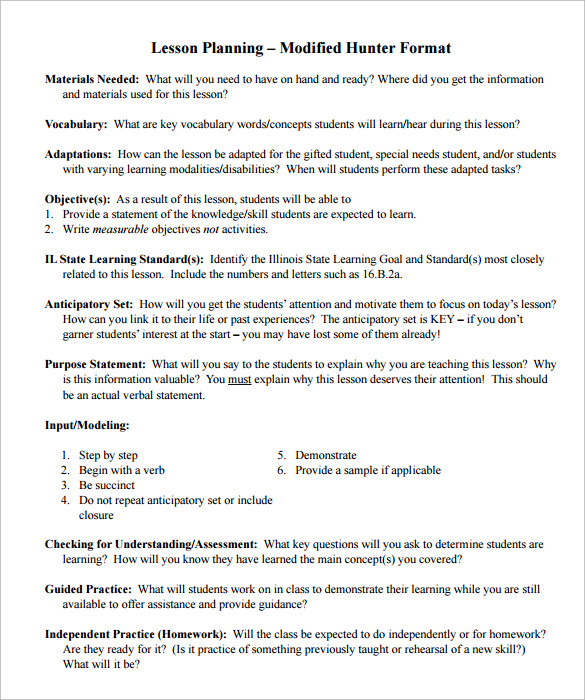 12 Sample Madeline Hunter Lesson Plans Sample Templates