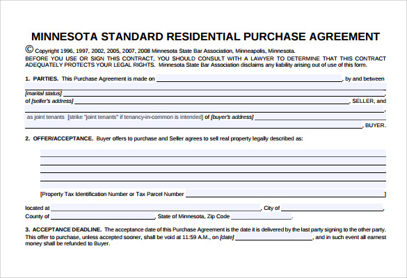 real estate purchase agreement template minnesota  Sample Home Purchase Agreement - 6  Documents in PDF, Word