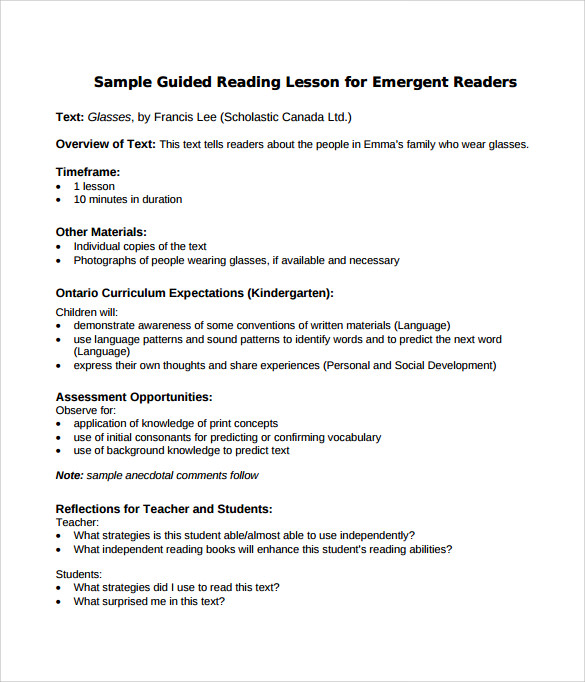 Sample Guided Reading Lesson Plan Documents In PDF Word - Literacy lesson plan template
