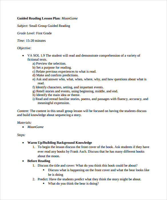 Free 9 Sample Guided Reading Lesson Plan Templates In Pdf Ms Word