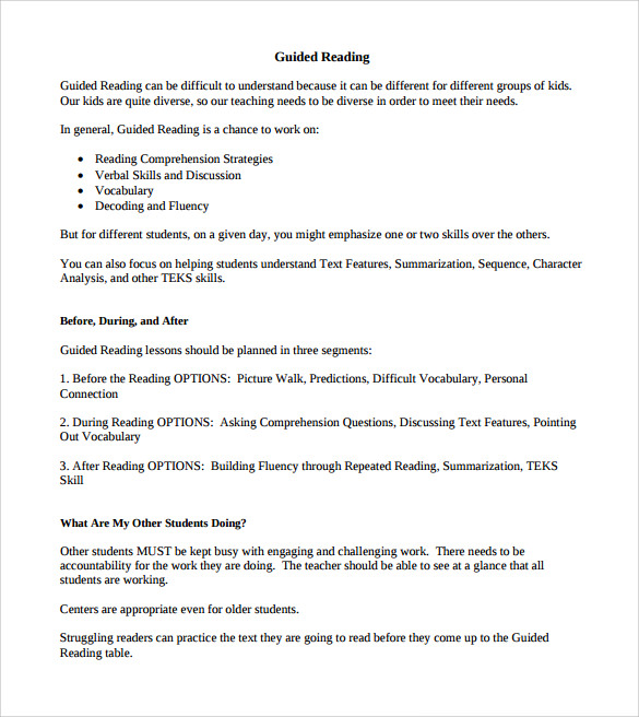 Sample Guided Reading Lesson Plan Template – 9+ Free , Examples ...
