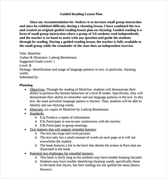 Sample Guided Reading Lesson Plan   Documents In  Word