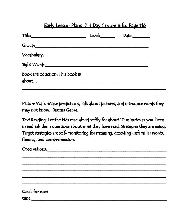 Sample Guided Reading Lesson Plan   Documents In Pdf Word