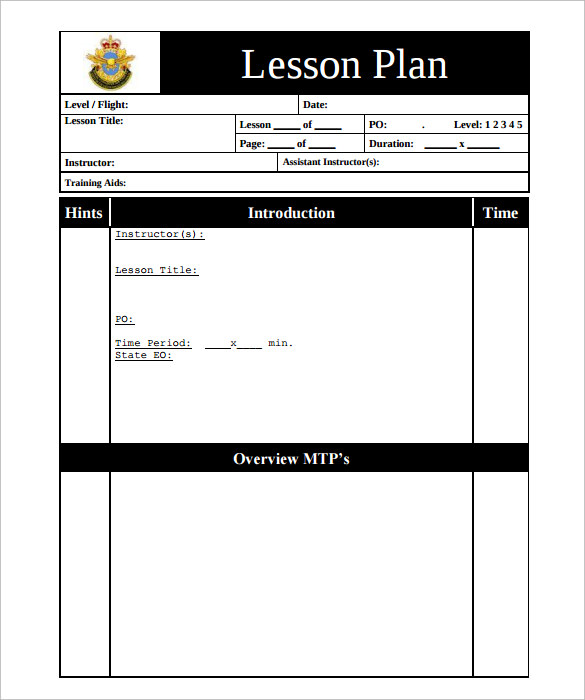 sample printable lesson plan template  u2013 11  free   examples   format