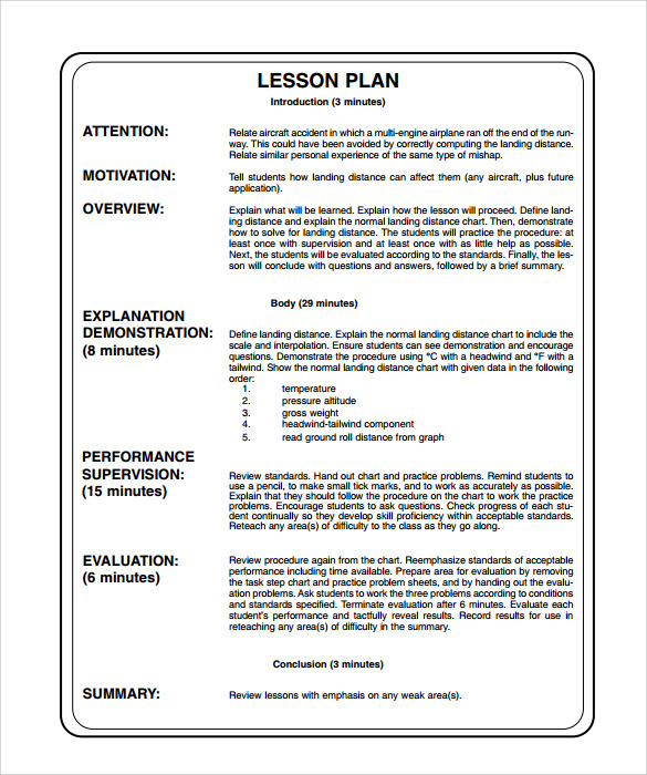Sample Printable Lesson Plan   Examples Format