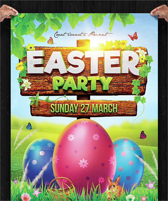 easter egg hunt invitation template psd