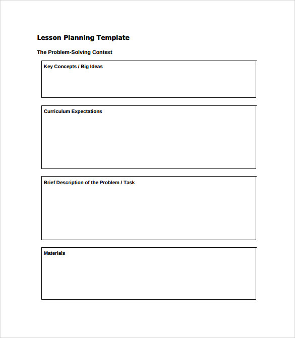 12 sample kindergarten lesson plans sample templates for Lesson preparation template