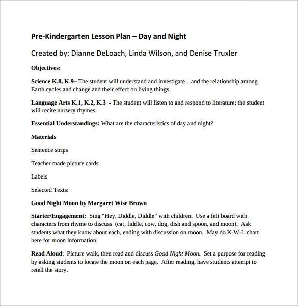 pre kindergarten lesson plan day and night%ef%bb%bf