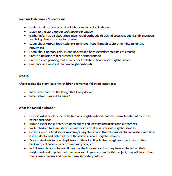 sample kindergarten lesson plan template