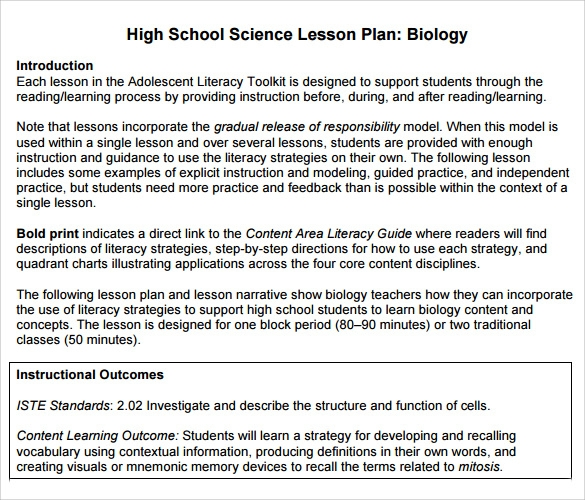 Sample High School Lesson Plan   Documents In PdfWord