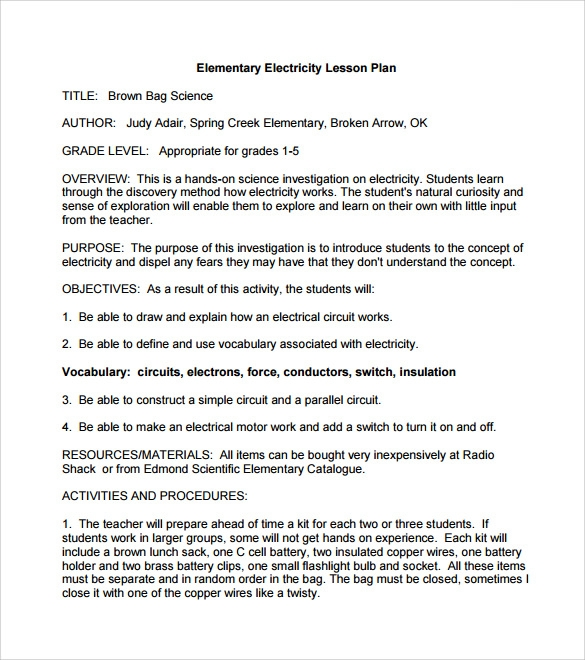 elementary detailed lesson plan