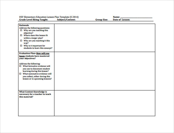 Sample Elementary Lesson Plan   Documents In Pdf
