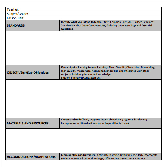 teacher lesson plan template to print