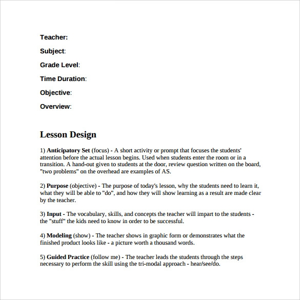 teacher lesson plan template to download